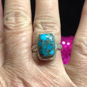 Beautiful Turquoise Copper Veins 925 Ring